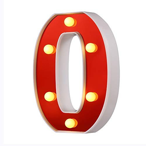 Samapet LED Marquee Letter Lights 26 Alphabet Red Pleasent Indoor Bright Night Lights Sign for Wedding Birthday Party Battery Powered Christmas Night Light Lamp Home Bar Decoration