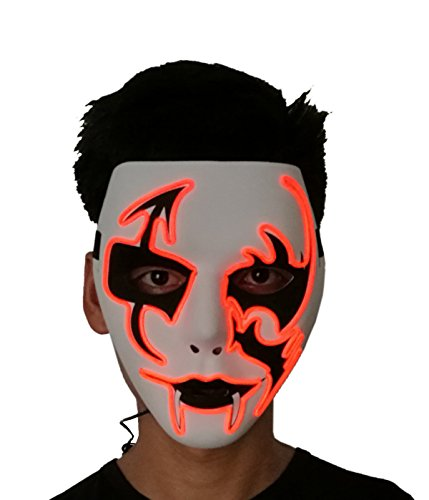 2017 Halloween Horror Light Up Clown Mask - Scary Mask Halloween Cosplay Led Costume El Wire Mask (Orange) by LZLRUN