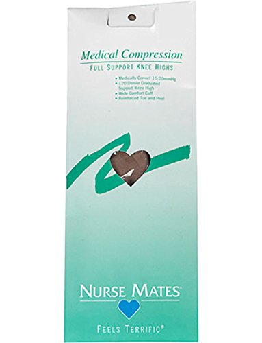 Nurse Mates Women's 15-20 Mmhg Medically Correct Compression Knee High Stockings Hosiery Nude