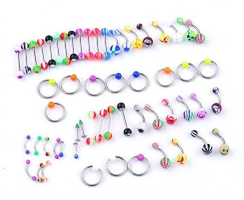 IPINK 60 Piercing Kit Lot of Belly Ring,Labret,Tongue Ring,Eyebrow Ring,Tragus and Barbells Mix 14G,16G