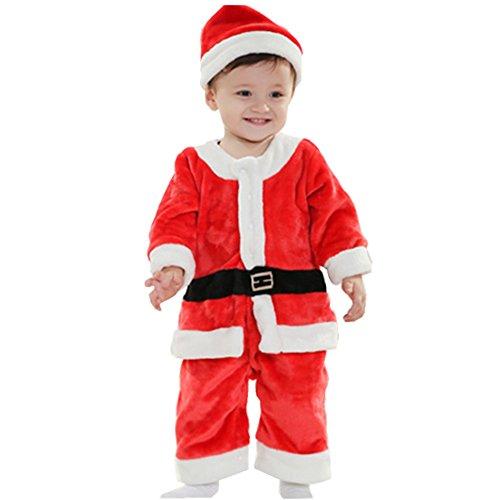 1 Year Old Baby Halloween Costumes Uk (VANGULL Toddler Baby Boys Christmas Santa Claus Suit 2pcs Costume Romper Pants & Hat (100cm))