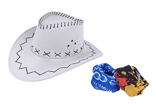 Cowboy Hats for Men and Women, Adult Western Hat Suede Cap with Magic Bandanna (White)