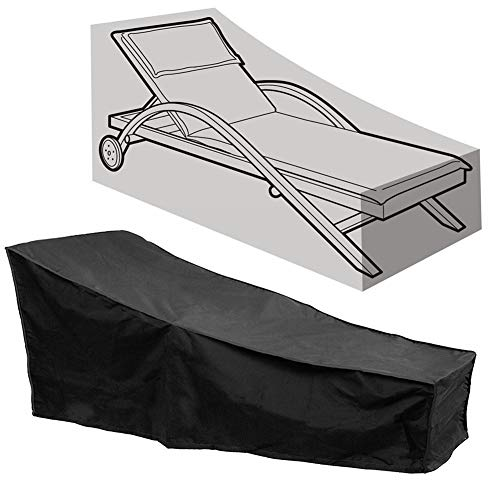 INLAR Sun Lounger Covers, Patio Chaise Lounge Covers Oxford Fabric Waterproof Dust-Proof Anti-UV Deck Chair Cover, Sun Lounger Covers Outdoor Patio Furniture Sunbed Protection (1PCS,Black)