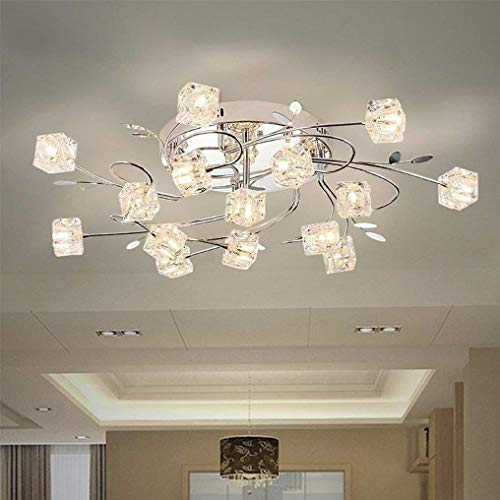 BOSSLV Led Modern Ceiling Lamp Floral Design Parlor Lamp Crystal Glass Lampshade Lampshade Chrome Round Ceiling Lamp Bedchamber 75Cm 15×G4 3000K Warm Light ()