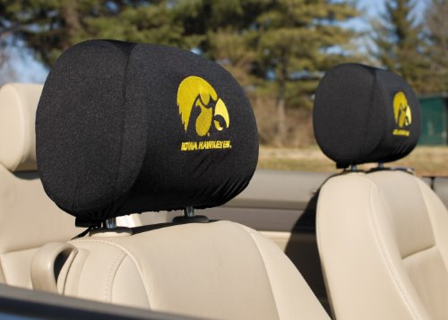 NCAA Iowa Hawkeyes Headrest Covers, Set of 2, Outdoor Stuffs
