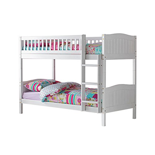 3ft Single Wooden Rosa Bunk Bed in White