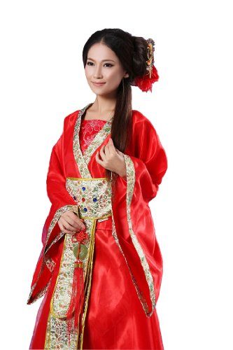 Chinese Costumes For Halloween (Bysun chinese ancient women's stage Han Fu costume RedM)