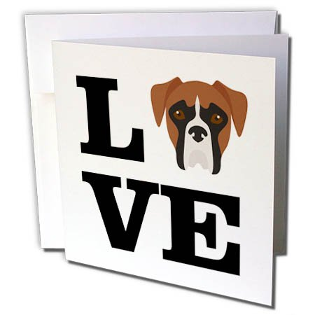 3dRose Carsten Reisinger - Illustrations - I Love My Boxer Dog Design Canine Lover - 12 Greeting Cards with Envelopes (gc_282701_2) (Boxer Dog Greeting Cards)