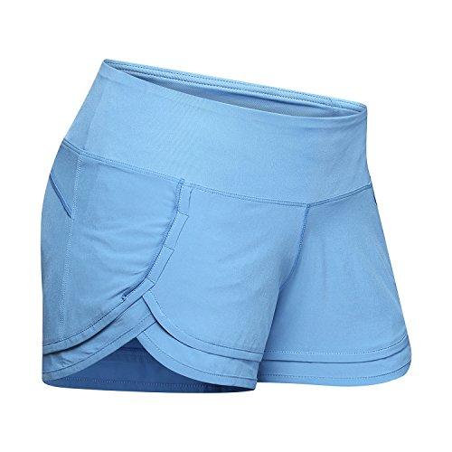 - Women's Stylish Light Weight Athletic Running Shorts Yoga Fitness Volleyball Mesh Lining WOD Lifting Dri-Fit Zipper Pocket On Waistband (2-4/XS, Blue)