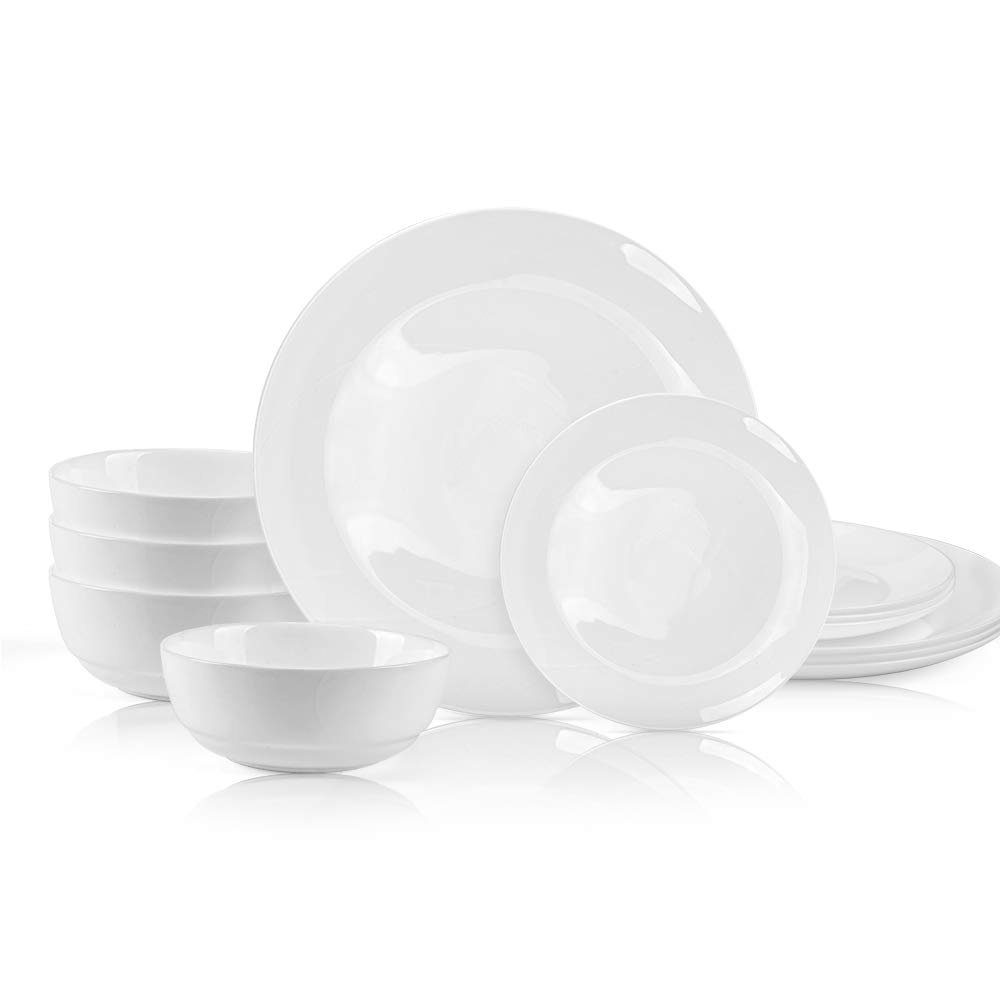 12Piece Kitchen Dinnerware Set, Plates, Bowls, Service for 4, White,Opal Glass