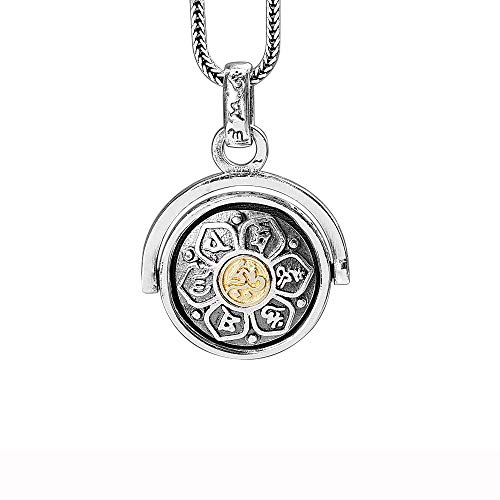 LOVECOM 925 Sterling Silver Rotating Charm Pendants for Women Mother Men Buddhism Wisdom Mercy Gifts (Pendant) (Gold Pendant+20inch Chain)