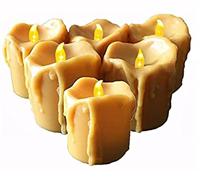 Battery Operated Candles with Timer,6 Flameless Candles, Frosted Flickering,1.5 x 1 x 1 inches