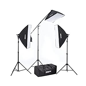 "Fovitec StudioPRO - 3x 20""x28"" Softbox Lighting Kit w/ 2500 W Total Output - [Classic][Includes Boom, Stands, Softboxes, Socket Heads, 11x 45W Bulbs]"