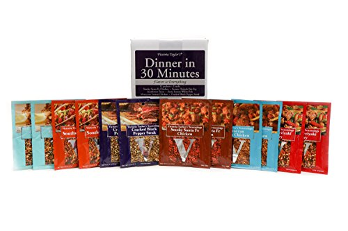 Dinner in 30 Minutes- 12 RECIPE SEASONING PACKETS. SPICES INCLUDE: Santa Fe Chicken, Sesame Teriyaki Stir Fry, Southwest Tacos, Zesty Lemon Whitefish, Moroccan Lemon Chicken, Crackeed Black Pepper. (Dinner Fish)