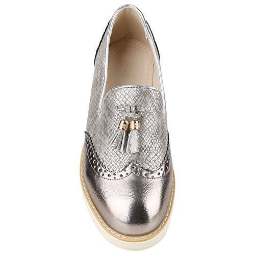 Stiefelparadies Damen Halbschuhe Plateau Metallic Brogues Leder-Optik Slipper Loafer Quasten Plateauschuhe Wedges Lack Keilabsatz Schuhe Flandell Bronze Quasten