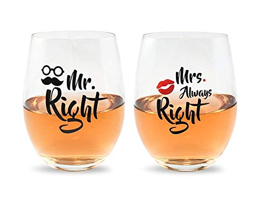 Mr Right and Mrs Always Right Wine Glasses Gift Set For Bridal Shower, Married Couples, Weddings, Engagements, Newlyweds, Anniversary / 16oz