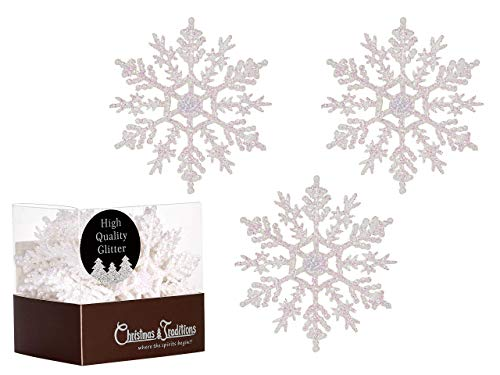 (Christmas Traditions 4 inch White Iridescent Glittered Snowflake (Set of 28) Ornaments Hanging Tree Decorations)