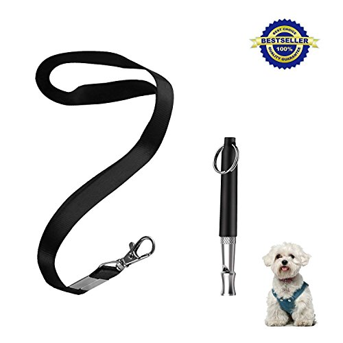 (ZDCDEALS Professional Ultrasonic Dog Training Whistle to Stop Barking, Adjustable Pitch Ultrasonic Training Tool Silent Bark Control for Dogs with Free Lanyard Strap-Black)