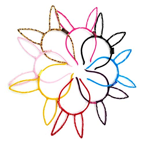 LED Rabbit Ear Headband, 8 Pcs Colorful Bunny Ears Hairband for Girls Adult Halloween Christmas Party Decorations Hair Accessories -