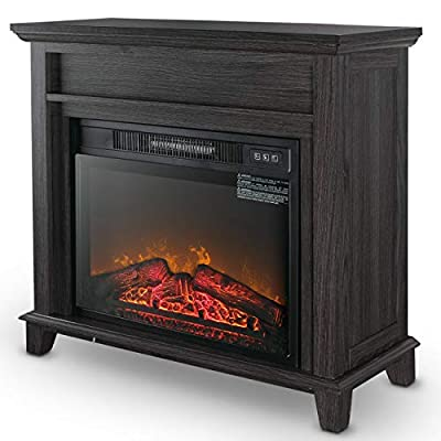 "MRT SUPPLY 23"" Inch, Grey Infrared Adjustable Flame Fireplace Insert Heater Stove Mantel 120V/60Hz with Ebook"
