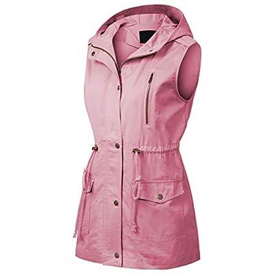 MixMatchy Women's Drawstring Lightweight Loose Fit Sleeveless Vest Utility Jacket: Clothing