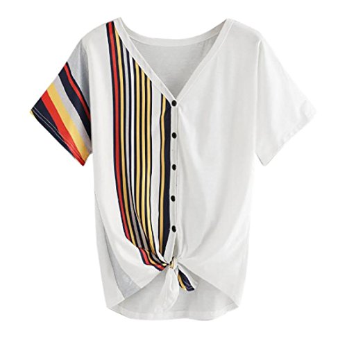 Botrong Fashion Women Short Sleeve Stripe Print Button Tops Blouse T-Shirt Tee (XL)
