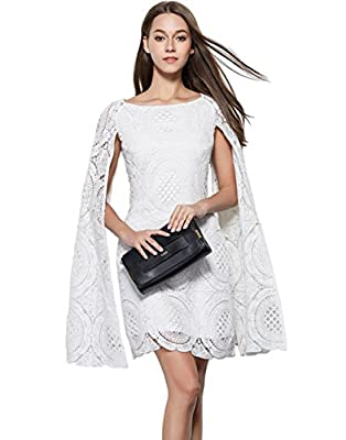 Merope J Womens Cape Sleeves Lace Short Elegant Short Ball Gown Dress