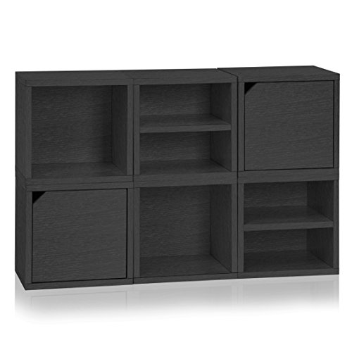 Way Basics  6  Modular 3 - in - 1 Shelf Connect Cube Storage System, Black Wood Grain (Tool-Free Assembly and Uniquely Crafted from Sustainable Non Toxic zBoard paperboard)