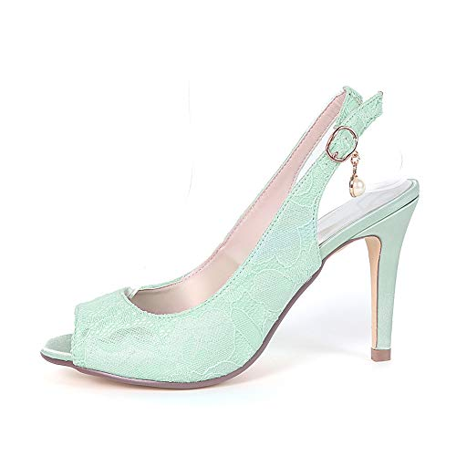Ivoire Moojm 9cms Sandales Peep Talons Dos Chaussures De Femmes Ouvert Toe Boucle Hauts Dames Mariage RcAL3jq54