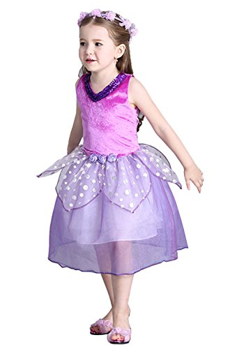 Little Girls Princess Sequins V Neck Purple Flower Fairy Dress Brithday Party Costume (3-4Years)