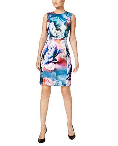 (Calvin Klein Printed Scuba Sheath Dress (14))