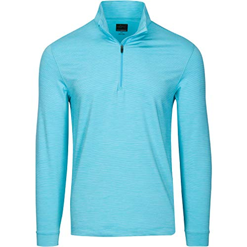 Greg Norman Men's Micro Stripe Long Sleeve Heathered 1/4-Zip Mock, Coast Blue Heather, Medium