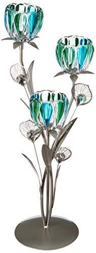 Triple Peacock Bloom Candleholder (pack of 1 EA) -