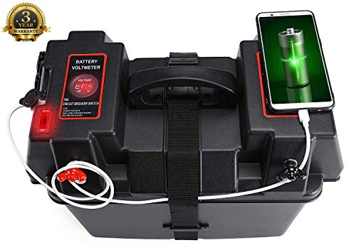 DCFlat Trolling Motor Smart Battery Box Power Center Black