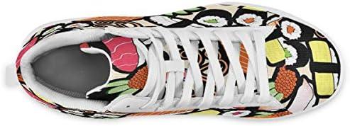 メンズ 寿司 すし スケートボードシューズ ミッドカット 日常着用 ハイカット レースアップ スニーカー カジュアル ドレスシューズ ハイトップ ショートブーツ デッキシューズ 運動靴