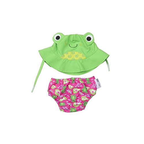 (ZOOCCHINI Swim Diaper & Sun Hat Flippy The Frog Unisex Kids Swim Set)