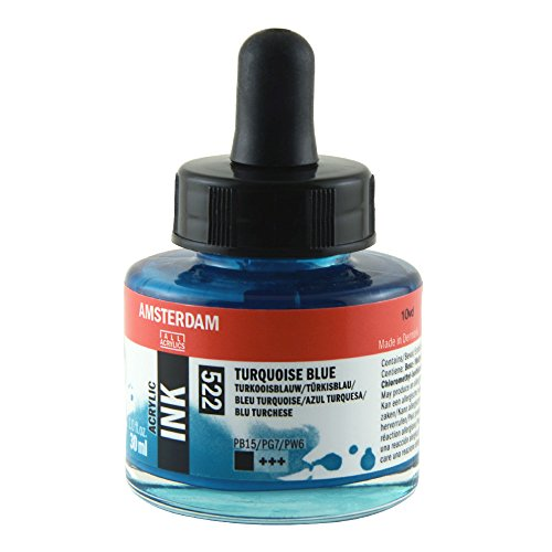 Royal Talens Amsterdam Acrylic Ink, 30ml Bottle with Dropper, Turquoise Blue (17205220) by Amsterdam