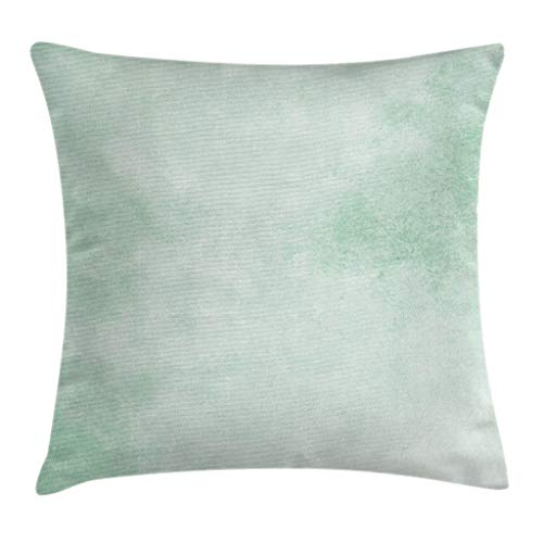 """Ambesonne Mint Throw Pillow Cushion Cover, Blurry Abstract Background Shady Pastel Toned Modern Watercolor Murky Image, Decorative Square Accent Pillow Case, 20"""" X 20"""", Green"""