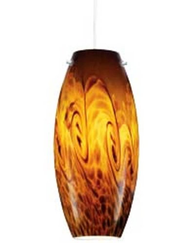 Juno P88MPF3-BRZ-AMS Charlotte 1-Light CFL Pendant Kit, Amber Storm Glass with Vintage Bronze Finish Canopy and Hardware
