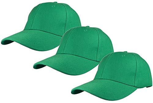 Gelante Plain Baseball Cap Adjustable Back Strap 3 PC-001-Kelly Green