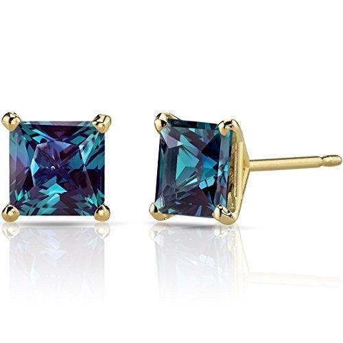 - 14K Yellow Gold Princess Cut 2.50 Carats Created Alexandrite Stud Earrings