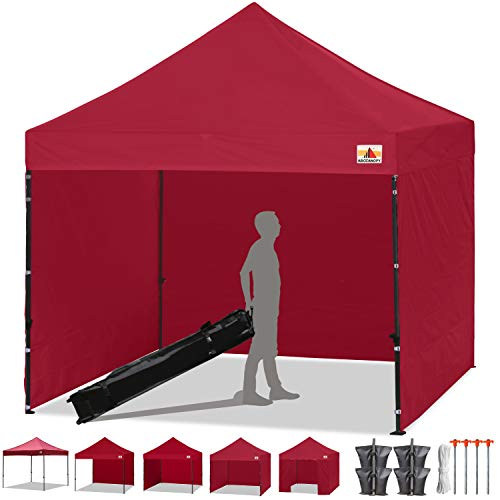 Maiden Cross - ABCCANOPY Pop-up Canopy Tent 8x8 Commercial Instant Tents Outdoor Canopies Easy to Set Up with 3 Side Walls and 1 Door Wall,Bonus Roller Bag, 4 Sandbags and Stakes(30+ Multi Colors)