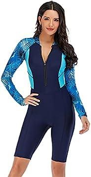X-xyA Rashguard Swimsuit Zip Front Long Sleeve Swimwear for Women