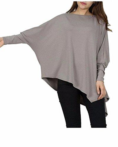 Auxo Mujeres Atractiva Camiseta Irregular Suelta Cuello Redondo Manga Murciélago Pullover plateado