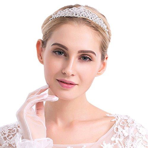 Tip Top Tiara (Bridal Princess Crystal Rhinestone Prom Hair Tiara Crown for Wedding Parties Birthday Headband Silver Wedding Accessories)