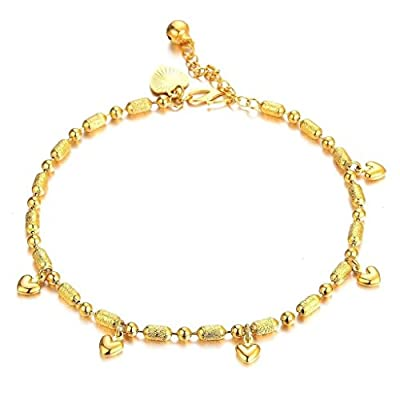 Bishilin Stainless Steel Fashion Women Anklet Gold Plated Heart Bead Gold Length Fit 22CM for cheap