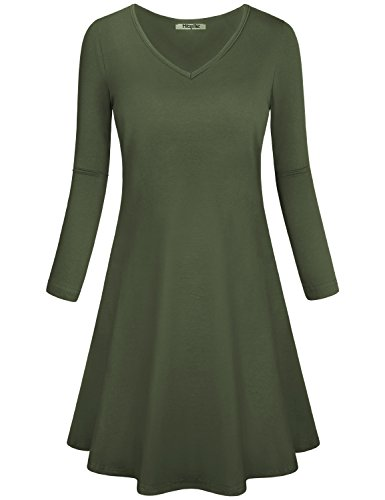 Hibelle Tunic Dresses for Women, Ladies Work Casual Semi Formal Elegant Shift T-Shirts Midi Dress with Pockets V Neck Long Sleeve Lightweight Well Made Clothing Army Green Large by Hibelle