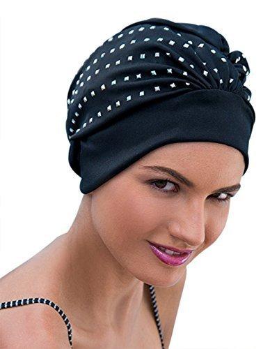 Mesdames Swim Bonnet de bain Turban Noir/Argent Paillettes Rock Chick Glamour: Amazon.es: Deportes y aire libre