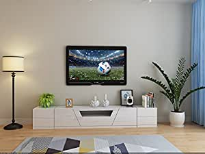 YIMILOVE high Gloss White TV Stand/Entertainment Unit with 2 Side Tables (240cm with 2 Side Tables)