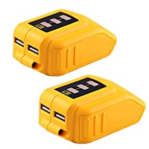 Weistar 12/20V Max USB Power Source Replace for Dewalt DCB090 Converters Adapter 12v 20v Lithium Battery 2Packs